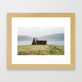 House in front of the lake Framed Art Print