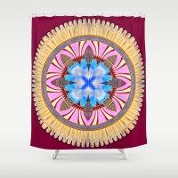 spires Shower Curtains featuring Castle Spires, kaleidoscope by designoMatt