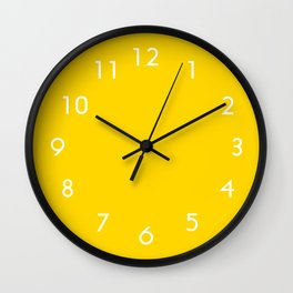 Freesia Yellow Sunshine Pastel Solid Color Block Wall Clock