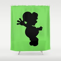 yoshi Shower Curtains featuring Yoshi Silhouette by Jessica Wray