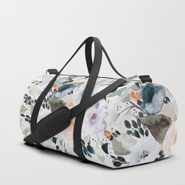 Loose Blue and Peach Floral Watercolor Bouquet  Duffle Bag