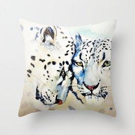 Snow Leopards Watercolor (Color) Throw Pillow