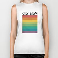 polaroid Biker Tanks featuring POLAROID by WordsnStripes