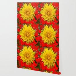 DECORATIVE  YELLOW DANDELION BLOSSOM ON ORGANIC RED ART Wallpaper