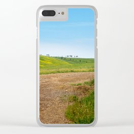 Winding road in green hills Tuscany, Italy Clear iPhone Case