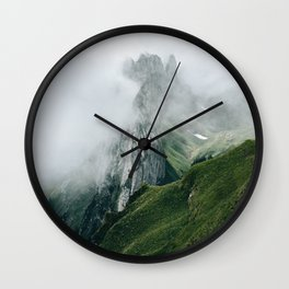Switzerland Mountain Range in the Clouds - Landscape Photography Wall Clock