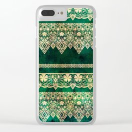 Vintage lace on Green velvet. Clear iPhone Case