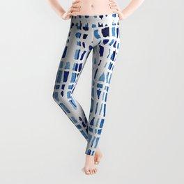 Shibori Braid Vivid Indigo Blue and White Leggings