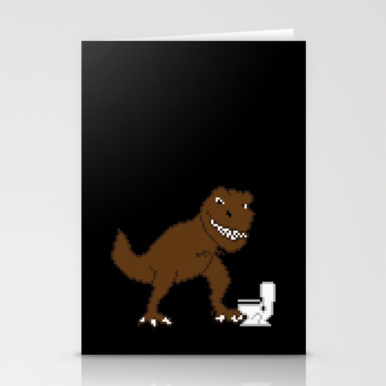 Jurassic Pixel Stationery Cards
