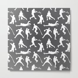Baseball Players // Charcoal Metal Print