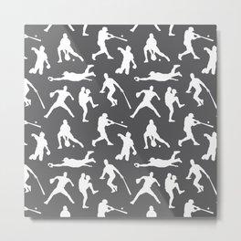 Baseball Players // Charcoal Metal Print