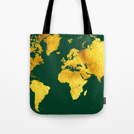Forest Green and Gold Map of The World - World Map for your walls Tote Bag