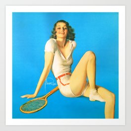 "Pinup by Rolf Armstrong ""Tennis Anyone?"" Art Print"
