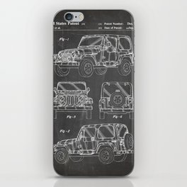 Jeep Wrangler Patent - Jeep Art - Black Chalkboard iPhone Skin