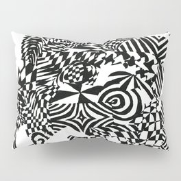 Face, Black/White Abstract (ink drawing) Pillow Sham