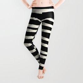 Hand Drawn Stripes on Black Leggings