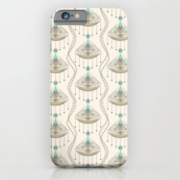 Beautiful medallions with blue gems art deco ornamental print jewelry iPhone Case