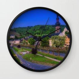 Cochem Germany Street Berth Rivers Evening Houses Cities Pier river Marinas Building Wall Clock