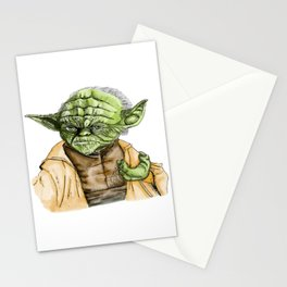 Water colour yoda Stationery Cards