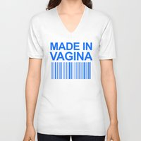 vagina V-neck T-shirts featuring MADE IN VAGINA BABY FUNNY BARCODE (Baby Boy Blue) by CreativeAngel