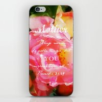 bible verse iPhone & iPod Skins featuring Roses - Verse by Anita Faye