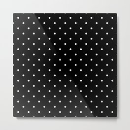 Small White Polka Dots with Black Background Metal Print