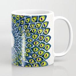 Peacock Feather Mandala – Navy & Lime Palette Coffee Mug