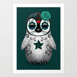 Teal Blue Day of the Dead Sugar Skull Penguin Art Print