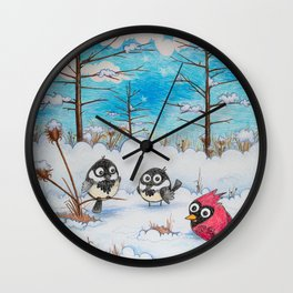 Winter: Two Chickadees and a Cardinal Wall Clock