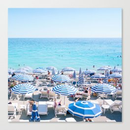Umbrellas on the French Riviera, Nice Canvas Print