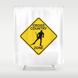 Cross Country Skiing Zone Road Sign Shower Curtain