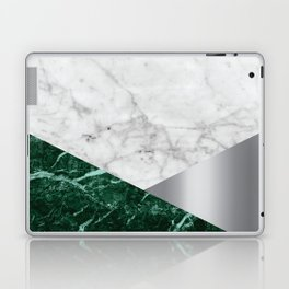 White Marble Green Granite & Silver #999 Laptop & iPad Skin