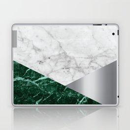 White Marble - Green Granite & Silver #999 Laptop & iPad Skin