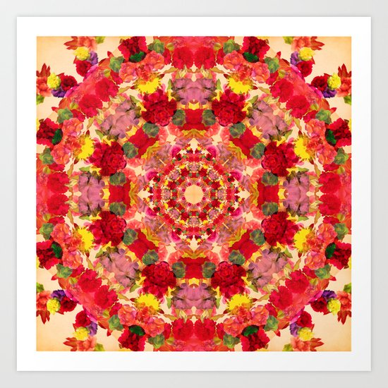 Vintage Flowers In The Round Art Print