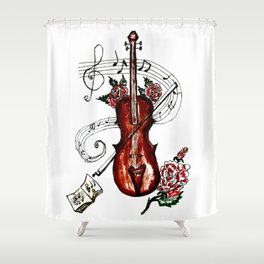 Brown Violin with Notes Shower Curtain