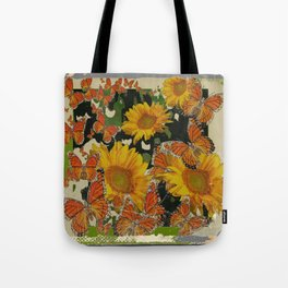 GRUNGY ANTIQUE STYLE  MONARCH BUTTERFLIES  SUNFLOWERS Tote Bag