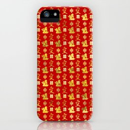 Mandarin Ducks, love and eternal knot pattern iPhone Case