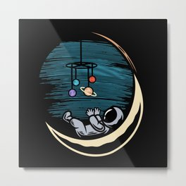 Astronaut baby playing with a mobile game Metal Print