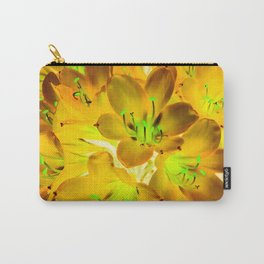 closeup yellow flower with green pollen background Carry-All Pouch