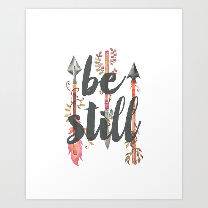 Be Still with Watercolor Feather Arrows Art Print