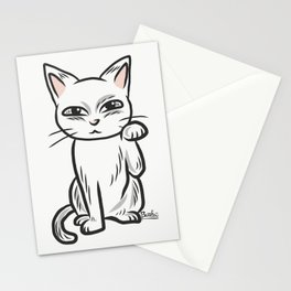 White funny cat Stationery Cards