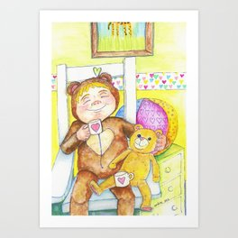 Teddybear tea-time Art Print