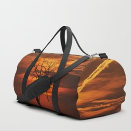 Scary witchy naked tree on sunset Duffle Bag