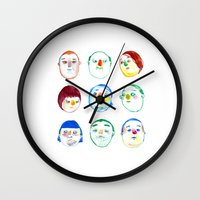 faces Wall Clocks featuring faces by Hyebin Lee
