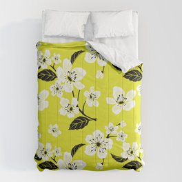 Light Yellow & White Sakura Cherry Tree Flower Blooms on Dark Yellow - Aloha Hawaiian Floral Pattern Comforters