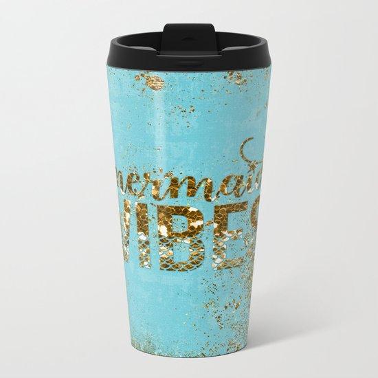 Mermaid Vibes - Gold Glitter on aqua Metal Travel Mug