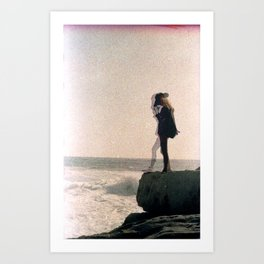 Girl on a Cliff Art Print