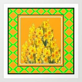 SPRING GREEN YELLOW DAFFODIL GARDEN ART PATTERN Art Print