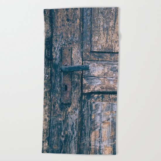 Weathered Wooden Door Beach Towel