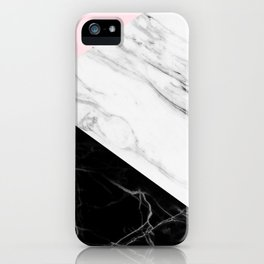pink black and white geometric marble iPhone Case